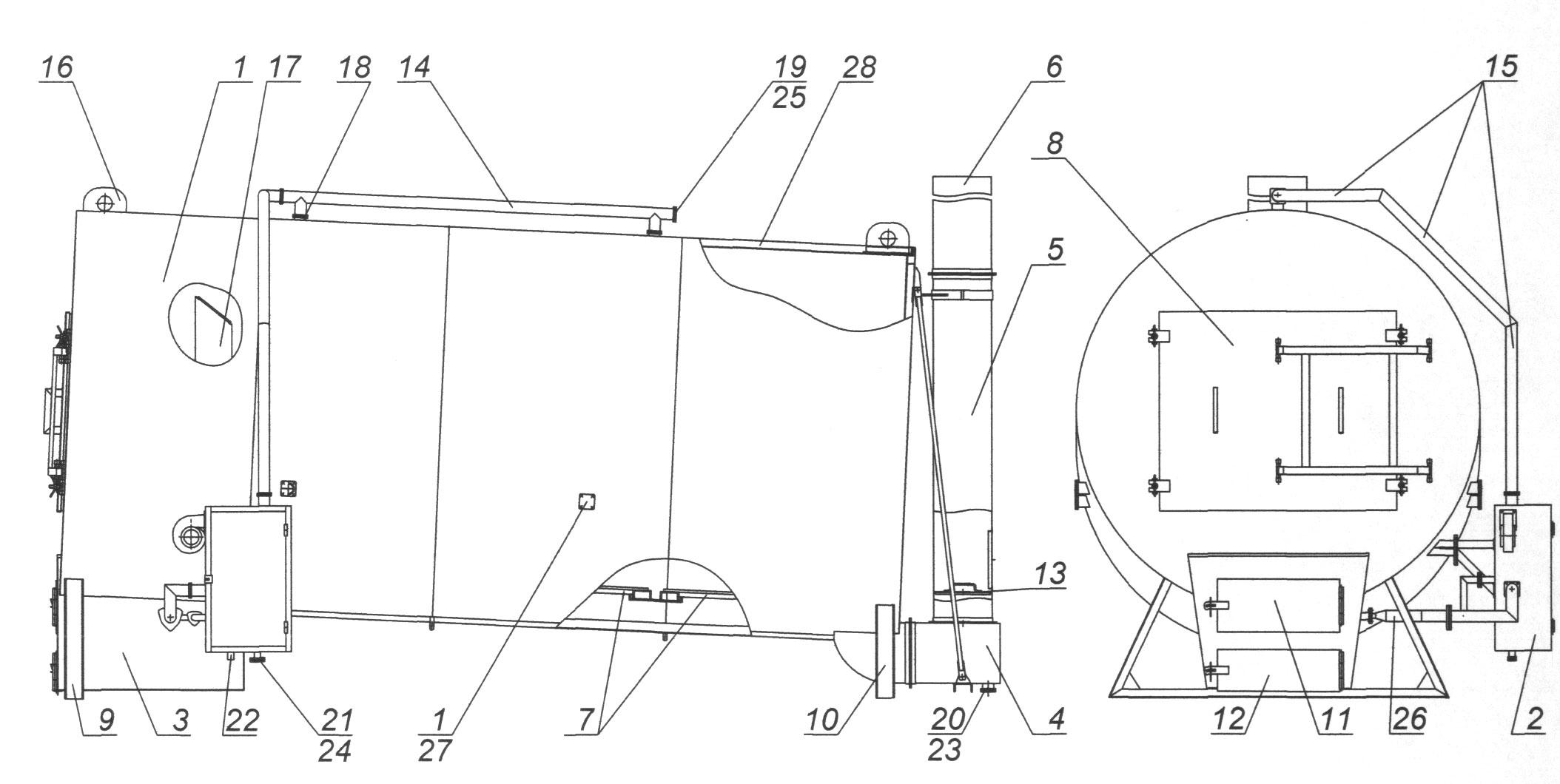 горизонтальная пиролизная печь схема принципиальная